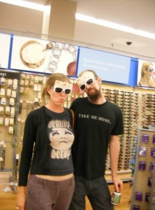 Tico and I modeling $3 designer frames...oh so cool